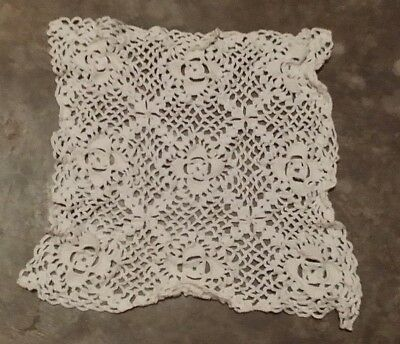 Vintage Hand Crochet White Square Floral Doilie Free Shipping