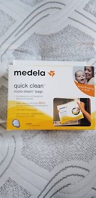 New never openQuick Clean Micro-Steam Bags, Medela, 2 boxes, 5 bags in each box