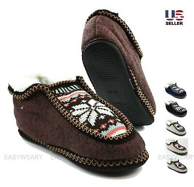 Womens Knit Fur Lining Winter Warm Soft Ankle Booties Slip On Shoes Slippers