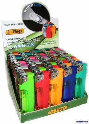 5 - Flags Refillable Butane Lighter Assorted Colors With LED Light - Pack of 20