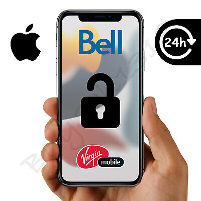 BELL OR VIRGIN - APPLE iPHONE UNLOCK - ANY MODEL - 4 HOURS OR LESS