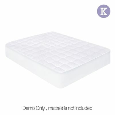 Fully Fitted Cotton Cover Quilted Bed Mattress Topper Underlay KING #HT