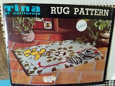 Vintage NOS Tina of California Latch Hook Rug Pattern Canvas Only  Night Stalker