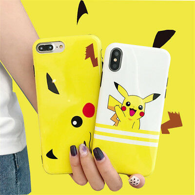 Shockproof Slim Pikachu Pokemon Pattern Back Case Cover For iPhone X 8 7 6s Plus