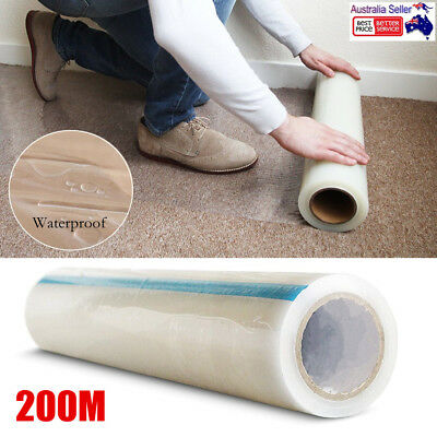 200M Carpet Protector Film Clear Self Adhesive Plastic Protection PE Dust Cover