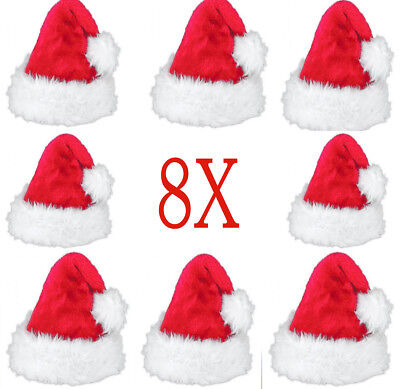 2X New Deluxe Father Christmas Hat Xmas Santa Fancy Dress Costume Hat Accessory