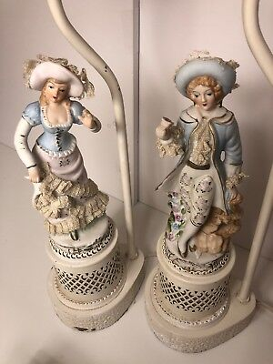 Pair Of Antique French Porcelain Figurine Boudoir Table Lamps&Shades Shabbychic