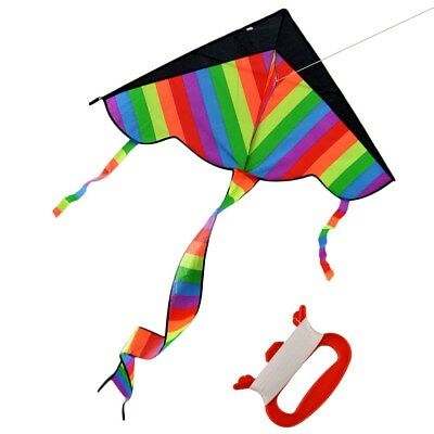 RAINBOW KITE KIDS Toy Fun Outdoor Flying Activity Game Children With Long Tail