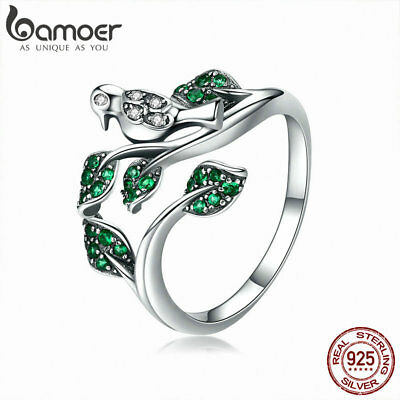 Bamoer solid S925 Sterling Silver Open Ring Wish Bird & Leaves With cz for Women