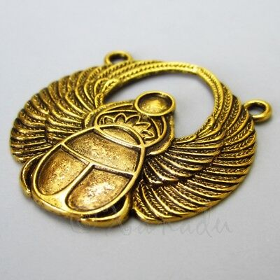 Egyptian Scarab 42mm Antiqued Gold Plated Connector Charms C6304 - 1, 2 Or 5PCs