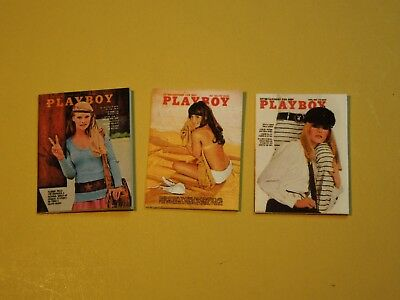 """Dollhouse Miniature 1"""" 1/12 Scale 1960s Playboy Magazines Pack #1 - set of 3"""