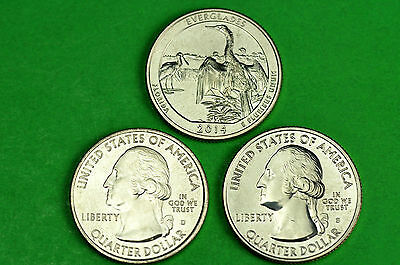 2014-P D S  BU Mint State (Everglades )  US National Park Quarter(3 Coins)