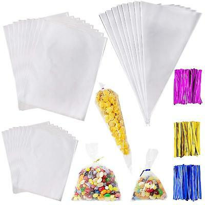 100X Clear Cellophane Cone Bags Twist Ties Large size Party Sweet Cello Candy