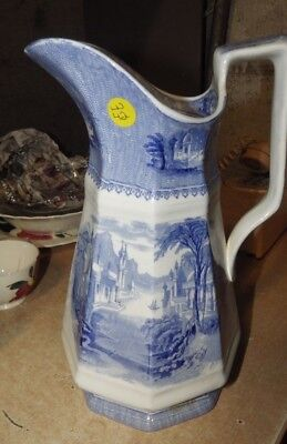 Antique J. Clementson Siam Blue And White Ironstone LARGE PITCHER CASTLE SCENCE