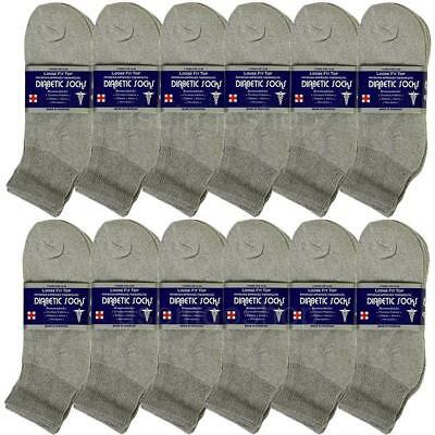 12 Pair Gray Men Cotton Circulatory Loose Fit Quarter Ankle Diabetic Socks 10-13
