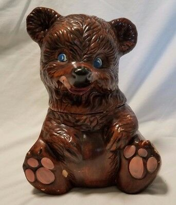 "Vintage 1950s Brown Bear Blue Eyes Tongue Out Cookie Jar 12"" Gilner 405 USA"