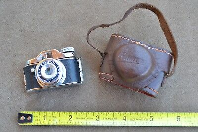 Vintage Rare Crown Mini Spy Camera Leather Case Miniature Tiny