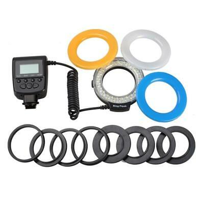 RF-550E Macro LED Ring Flash Light 48 LEDS with LCD Display Power Control Adapte