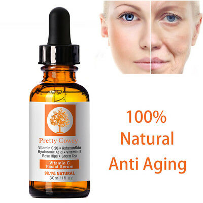 -Vitamin C Facial Serum Whitening Collagen Booster Anti Aging Dry Skin Wrinkle-