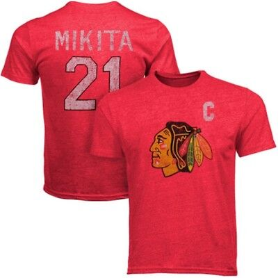 Chicago Blackhawks Stan Mikita Old Time Hockey Premium Tri-Blend T-Shirt