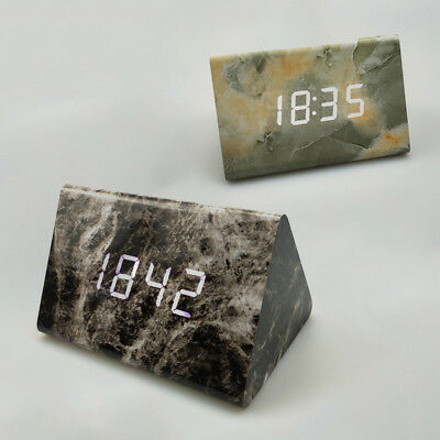 Alarm Clock Black Modern Multi-Function Sound Cube Display Table Marble Bedside