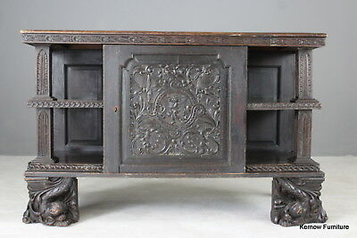 Early 17th Century 18th Century Carved Oak Cabinet Cupboard Sideboard Dresser