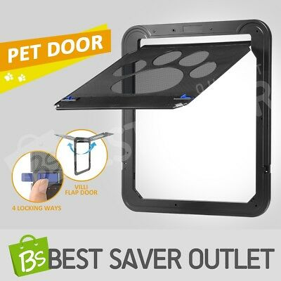 2 Way Lockable Locking Pet Dog Cat Door Safe Security Brushy Flap Puppy Door