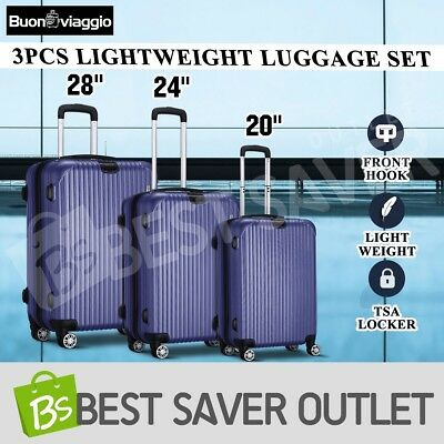 3x Travel Lightweight Expandable Spinner Luggage Suitcase Set Trolley- Dark Blue