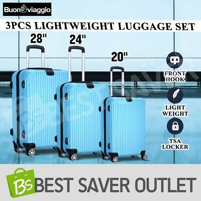 3x Travel LightWeigh Expandable Spinner Luggage Suitcase Set Trolley-Wathet Blue