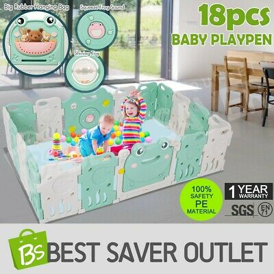 18 Sided Baby Playpen Interactive Kids Room Safety Gates Child Barrier Frog ABST