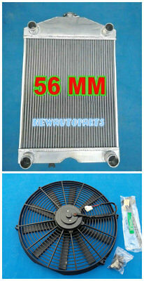 56MM Aluminum Radiator+Fan For Ford 2N / 8N / 9N Tractor W/Flathead V8 Engine MT
