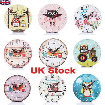 Wooden Wall Clock Table Desk Clock Vintage Rustic Chic Kids Home Office Decor UK