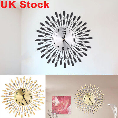 Large Wall Clock Dial Metal Beaded Jeweled Sunburst Clocks Home Office Decor UK