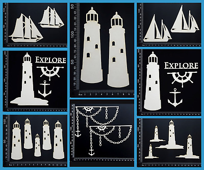 White Chipboard Embellishments - Beach & Nautical - Collection Three