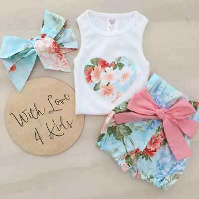 US Stock Newborn Baby Girl Clothes Tops Vest+Floral Shorts Pants Toddler Clothes