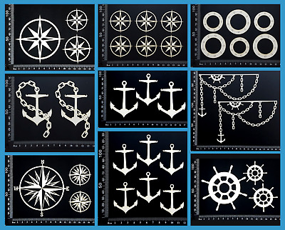 White Chipboard Embellishments - Beach & Nautical - Collection Four