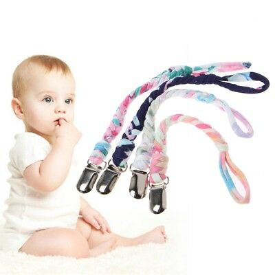 4Pcs Pacifier Chain Teething Ring Holders Baby Boys Girls Braided Dummy Clips