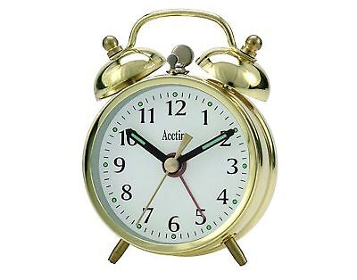 Acctim Selworth Clock Keywound Wind Up Double Bell Alarm Clock Bedside15278 gold