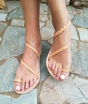 Ancient Greek style real leather handmade in Greece sandals with breaded straps