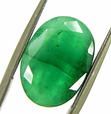 5.76 Ct Certified Natural Green Emerald Loose Gemstone Untreated Oval Cut- 98598
