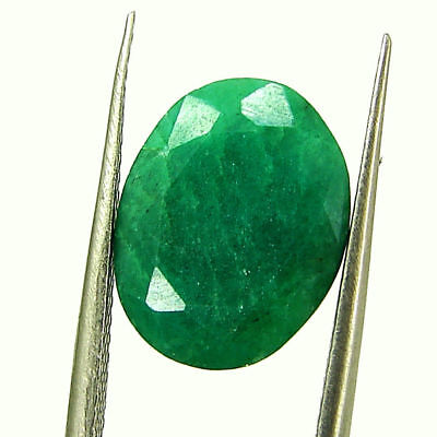5.04 Ct Certified Natural Green Emerald Loose Oval Cut Gemstone Stone - 131252