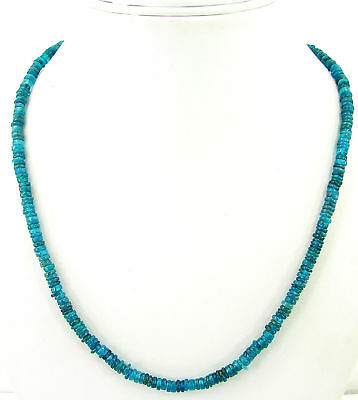 85 Ct Natural Blue Apatite Tyre Heishi Rondelle Beads Necklace String - B151