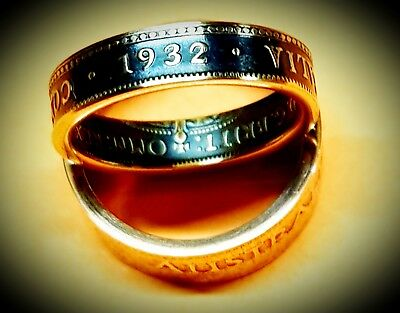 Australian Commonwealth Half Penny 1932 Coin Ring