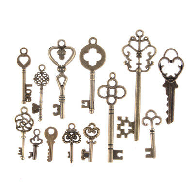 13pcs Mix Jewelry Antique Vintage Old Look Skeleton Keys Tone Charms YH