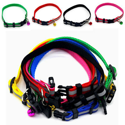 Glossy Reflective Cat Collar Safety Buckle Small Dog Puppy Cat Collar W/ Bell