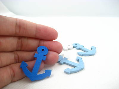 50pcs glue on anchor Wooden charms cards wookwork brooch Decoration Components