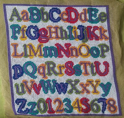 Modern Tapestry: Unique Handmade 'ABC (Purple Border)' Sampler