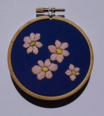 Modern Mini Embroidery: Unique Handmade 'Pink Blossom' Sampler (Framed)