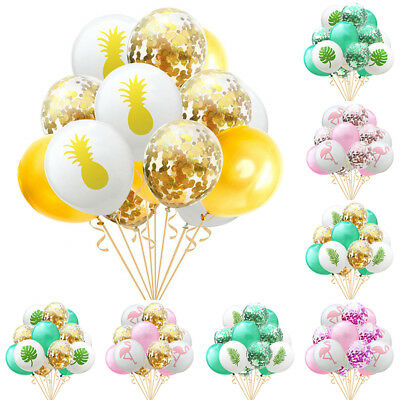 15PCS 12Inch Latex Air Balloons Set Flamingo Confetti Wedding Party Decorations