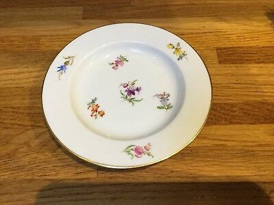 Antique Meissen Butter Pat Plate/trinket Dish, Antique Scattered Flowers Meissen